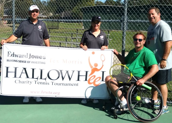 Up-Down Men's A Champion Johnny McGinn pictured (l-r) with Hallowheel Co-Chairs Rusty Jabour / Emily Greene and Title Sponsor Tex Morris of Edward Jones Investments